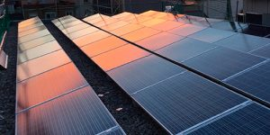placas solares atardecer